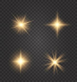 Conjunto de efeitos de luzes brilhantes dourados existentes em um.
