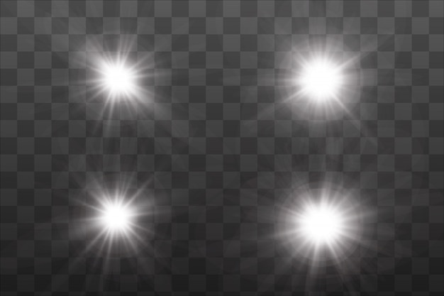 Conjunto de efeitos de luzes brilhantes dourados existentes.