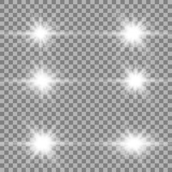 Conjunto de efeitos de luzes brilhantes dourados existentes