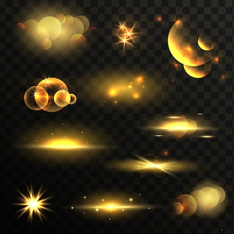 Conjunto de efeitos de luzes brilhantes