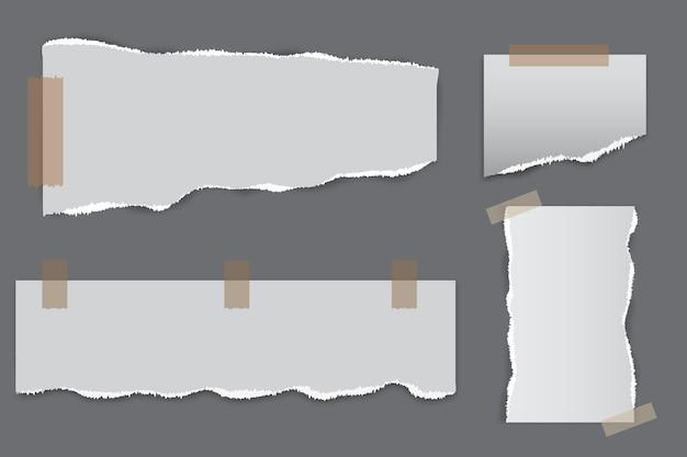 Conjunto de efeitos de papel rasgado realista