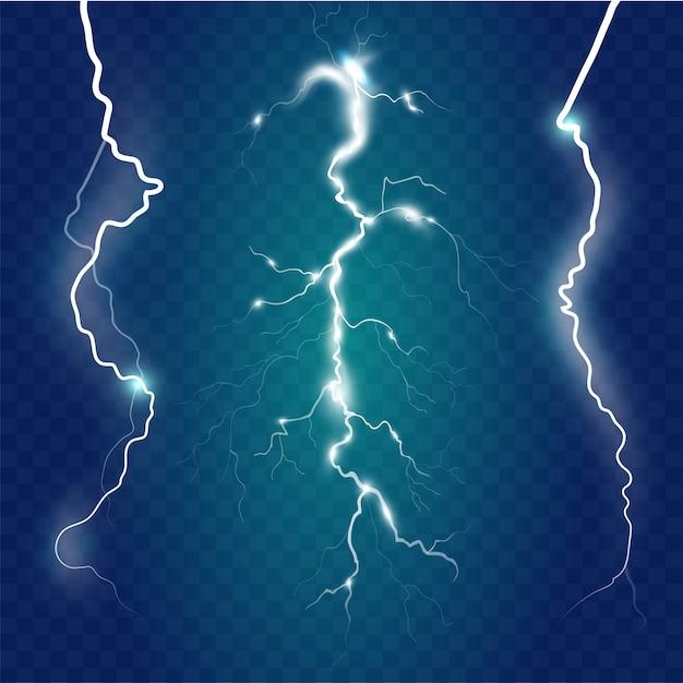 Conjunto de efeitos de raios isolados sobre fundo azul. magia de trovão e efeito relâmpago brilhante.