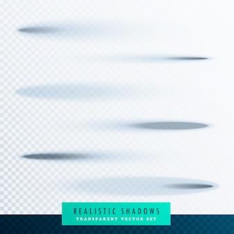 Conjunto de efeitos de sombra transparente de papel oval