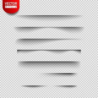 Conjunto de efeitos de sombra transparente realistas isolados no xadrez