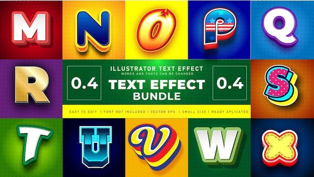 Conjunto de efeitos de texto doces coloridos