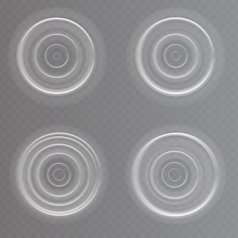 Conjunto de efeitos ondulantes de água realistas. ilustração vetorial em fundo transparente.