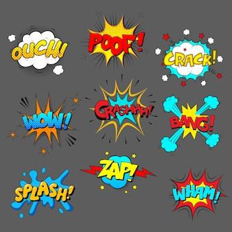 Conjunto de efeitos sonoros em quadrinhos, imagens coloridas com texto