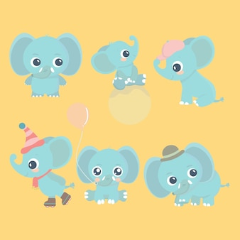 Conjunto de elefante bebê bonito dos desenhos animados. adoráveis pequenos elefantes, cartões de elementos de design.