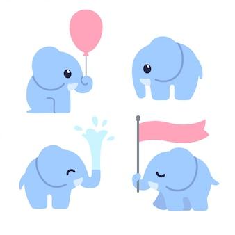 Conjunto de elefante bebê fofo