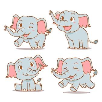 Conjunto de elefantes bebês bonitos dos desenhos animados em diferentes poses