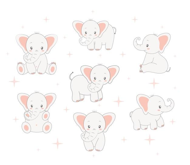 Conjunto de elefantes bebês