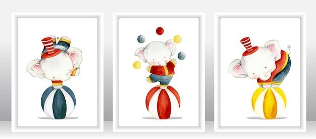 Conjunto de elefantes de circo em aquarela fofos
