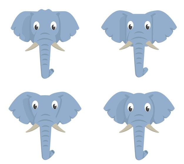Conjunto de elefantes de desenho animado. diferentes formas de cabeças de animais.