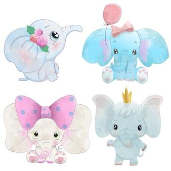 Conjunto de elefantes em aquarela