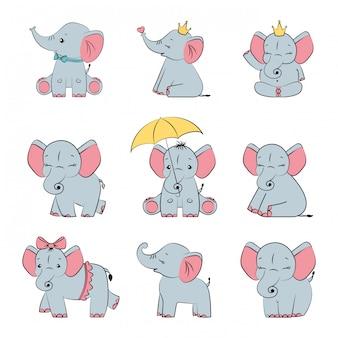Conjunto de elefantes fofos cinza bebê