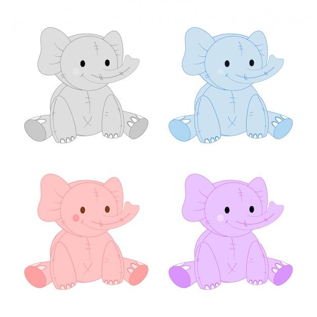 Conjunto de elefantes fofos em cores diferentes