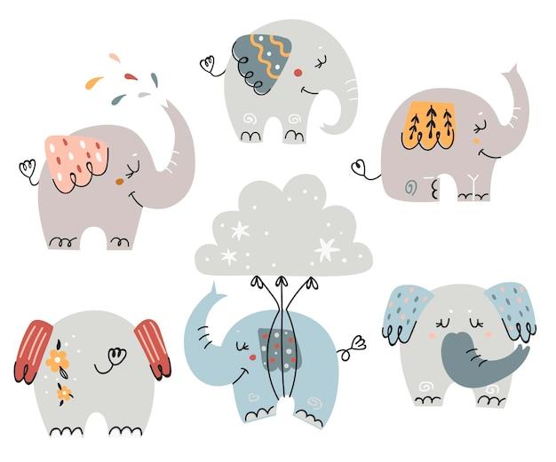 Conjunto de elefantes fofos para crianças. ilustração para cartões comemorativos, convites de bebê e camisetas