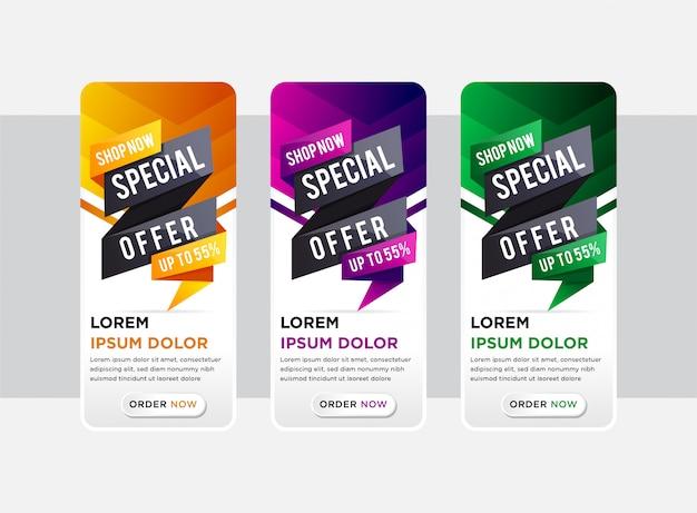 Conjunto de elegantes banners verticais com papel cortado design de elementos de oferta especial. modelos abstratos para banner de história no site. as cores do elemento são gradiente laranja, roxo, preto e verde.
