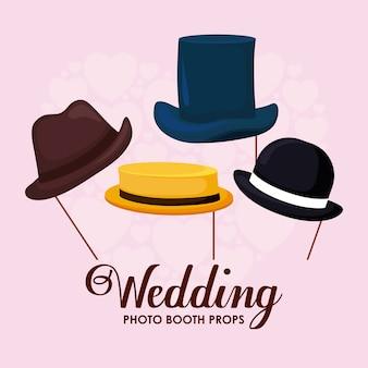 Conjunto de elegantes chapéus de cavalheiro em pau