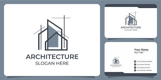 Conjunto de elegantes logotipos arquitetônicos minimalistas e cartões de visita