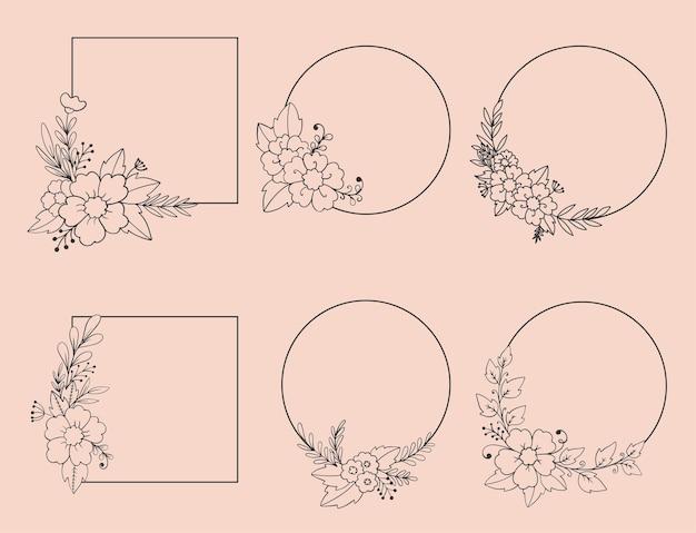 Conjunto de elegantes molduras desenhadas à mão