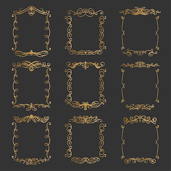 Conjunto de elegantes molduras douradas