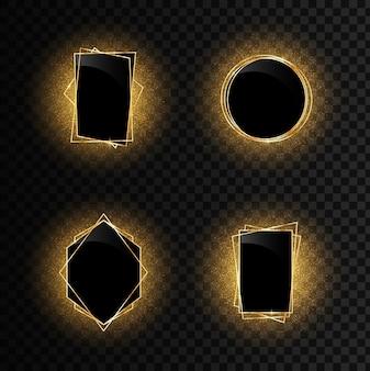 Conjunto de elegantes quadros de luxo dourado geométricos realistas