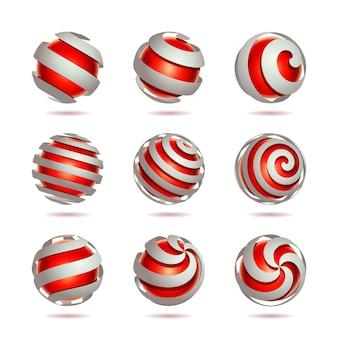 Conjunto de elemento 3d abstrato esfera vermelha