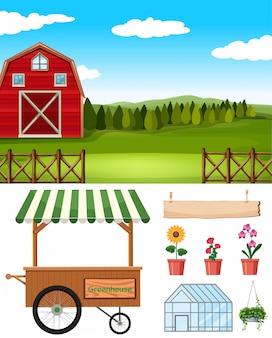 Conjunto de elemento agrícola