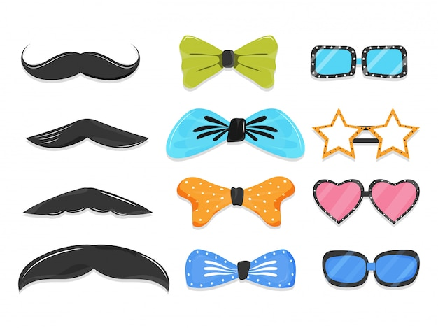Conjunto de elemento de adereços de festa como bigode, gravata borboleta, óculos em estilo diferente.