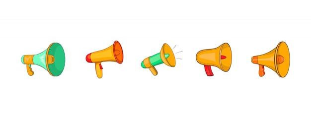 Conjunto de elemento de alto-falante de mão. conjunto de desenhos animados de elementos do vetor de alto-falante de mão