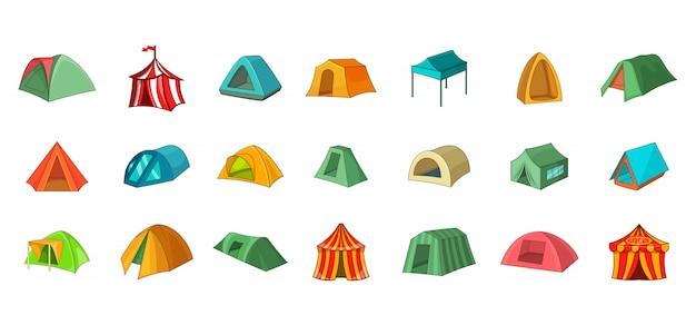 Conjunto de elemento de barraca. conjunto de desenhos animados de elementos do vetor de tenda
