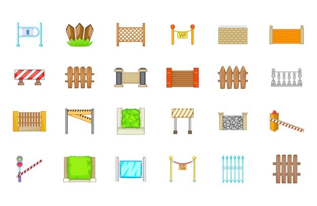 Conjunto de elemento de barreira. conjunto de desenhos animados de elementos do vetor de barreira