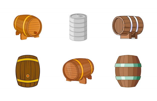Conjunto de elemento de barril. conjunto de desenhos animados de elementos do vetor de barril