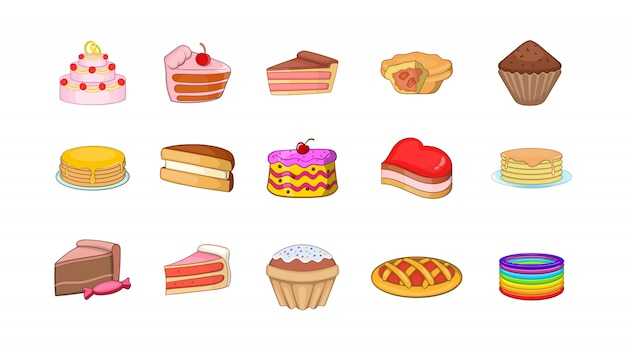 Conjunto de elemento de bolo. conjunto de desenhos animados de elementos do vetor de bolo