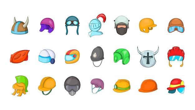Conjunto de elemento de capacete. conjunto de desenhos animados de elementos do vetor de capacete