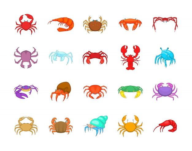 Conjunto de elemento de caranguejo. conjunto de desenhos animados de elementos do vetor de caranguejo