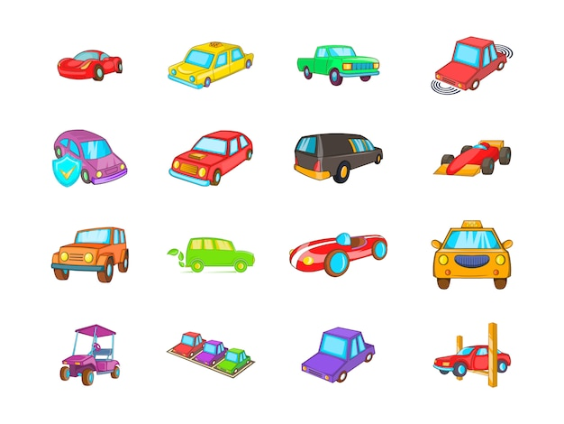Conjunto de elemento de carro. conjunto de desenhos animados de elementos do vetor de carro
