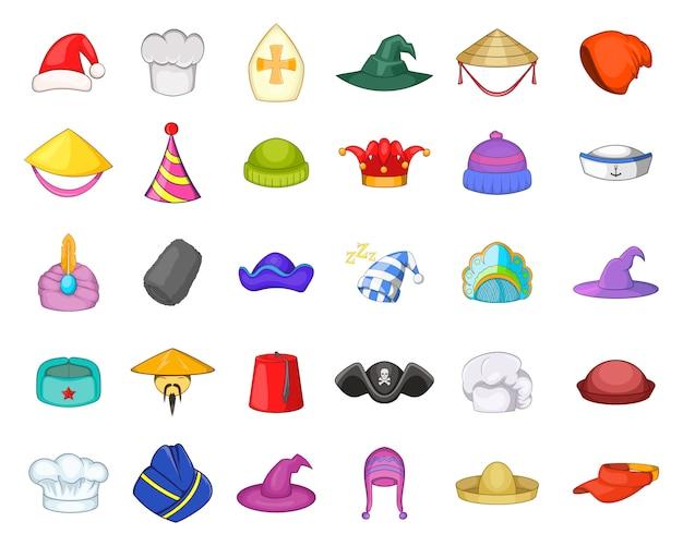 Conjunto de elemento de chapéu. conjunto de desenhos animados de elementos do vetor de chapéu