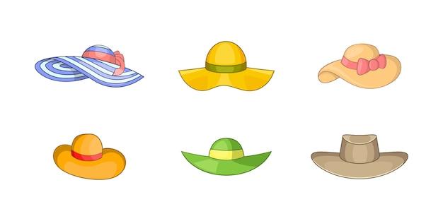 Conjunto de elemento de chapéu de mulher. conjunto de desenhos animados de elementos do vetor de chapéu de mulher