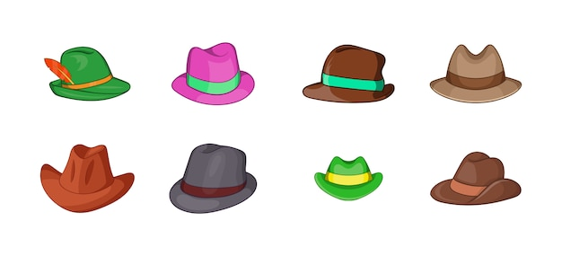 Conjunto de elemento de chapéu panamá. conjunto de desenhos animados de elementos do vetor de chapéu de panamá