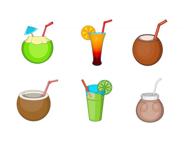 Conjunto de elemento de cocktail. conjunto de desenhos animados de elementos do vetor de coquetel