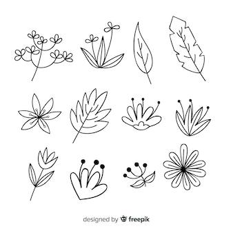 Conjunto de elemento de decoração floral incolor de mão desenhada
