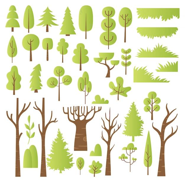 Conjunto de elemento de design de árvores