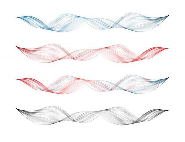 Conjunto de elemento de design de linha curva suave abstrata
