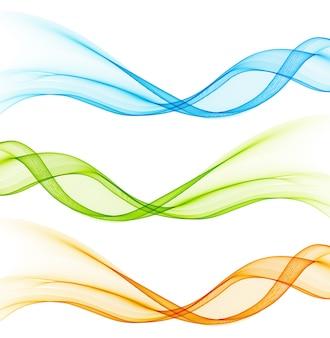 Conjunto de elemento de design de linhas de curva de cor.