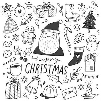 Conjunto de elemento de design de natal em estilo doodle