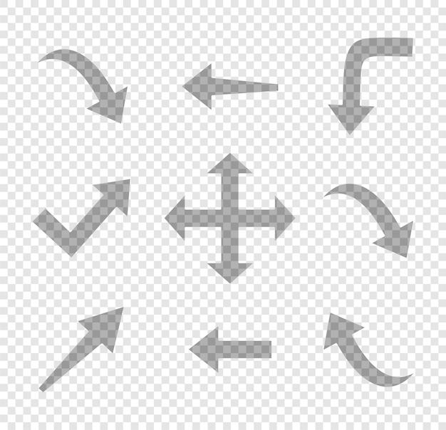 Conjunto de elemento de design de seta mão desenhada