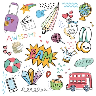 Conjunto de elemento de design e ícone no estilo doodle