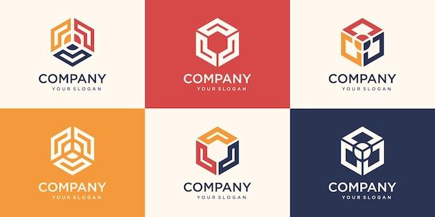 Conjunto de elemento de design hexagonal, modelo de logotipo hexagonal